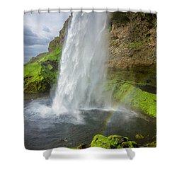 Seljalandsfoss With Rainbow, Iceland Shower Curtain