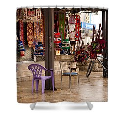 Selling At The Bazaar Shower Curtain by Rae Tucker
