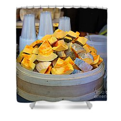 Shower Curtain featuring the photograph Selling Fresh Pumpkin Shakes by Yali Shi