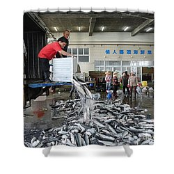 Shower Curtain featuring the photograph Selling Grey Mullet Fish In Taiwan by Yali Shi