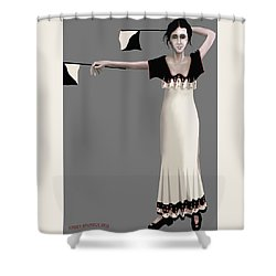Semaphore Girl Shower Curtain by Kerry Beverly