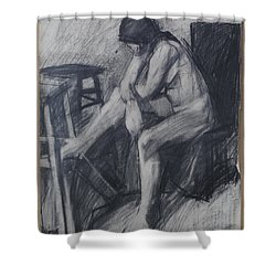 Semi Cubist Life Drawing Shower Curtain by Harry Robertson
