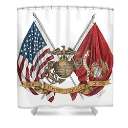 Semper Fidelis Crossed Flags Shower Curtain