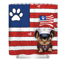 Semper Fidelis Yorkie Marine Shower Curtain