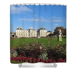 Shower Curtain featuring the photograph Senate From Jardin Du Luxembourg by Christopher Kirby