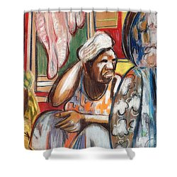 Shower Curtain featuring the painting Senegal, 1965 by Gary Coleman