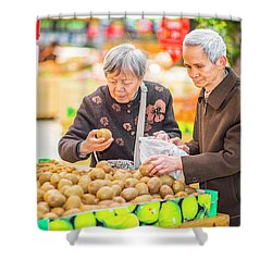 Senior Man And Woman Shopping Fruit Shower Curtain
