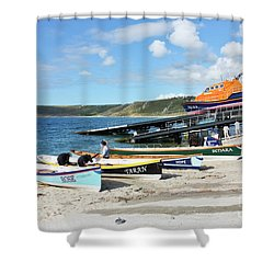Sennen Cove Lifeboat And Pilot Gigs Shower Curtain by Terri Waters