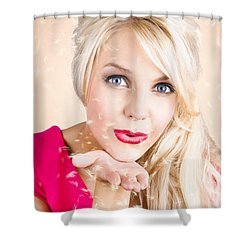 Shower Curtain featuring the photograph Sensual Woman Blowing Special Dandelion Kiss by Jorgo Photography - Wall Art Gallery