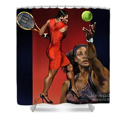 Sensuality Under Extreme Power - Serena The Shape Of Things To Come Shower Curtain by Reggie Duffie