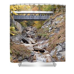 Sentinel Pine Covered Bridge Shower Curtain by Catherine Gagne