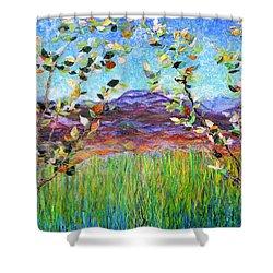 Sentries Diptych Shower Curtain by Regina Valluzzi