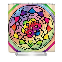 Sephardic Medieval Mandala Shower Curtain