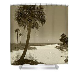 Sepia Beach Shower Curtain