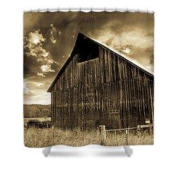 Sepia Historic Barn Shower Curtain