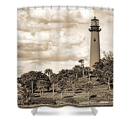 Sepia Lighthouse Shower Curtain by Rudy Umans