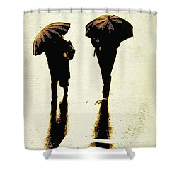 Sepia Rain Shower Curtain