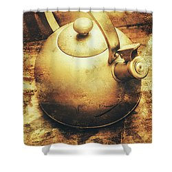 Sepia Toned Old Vintage Domed Kettle Shower Curtain