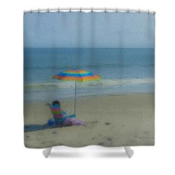 September Beach Reader Shower Curtain