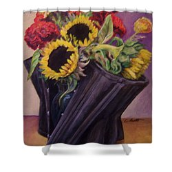 Shower Curtain featuring the painting September Cincher by Laura Aceto