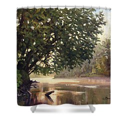 September Dawn Little Sioux River - Plein Air Shower Curtain