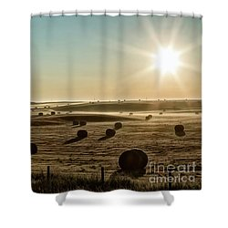Shower Curtain featuring the photograph September Hay by Brad Allen Fine Art