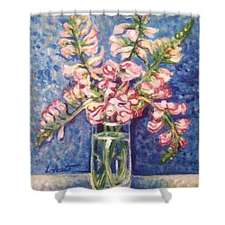 Shower Curtain featuring the painting September Snaps by Laura Aceto