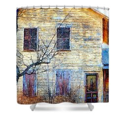 Shower Curtain featuring the photograph September's Gone - Yellow Farmhouse Windows by Janine Riley