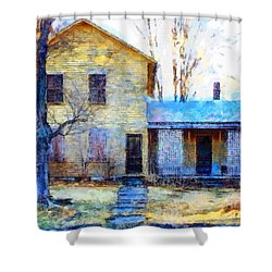 Shower Curtain featuring the photograph September's Song - Yellow Farmhouse  by Janine Riley