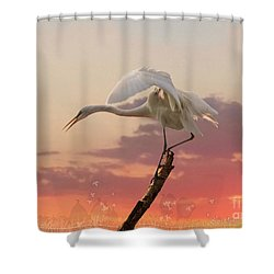 Sepulveda Basin Crane 2 Shower Curtain