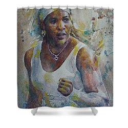 Serena Williams - Portrait 5 Shower Curtain by Baresh Kebar - Kibar