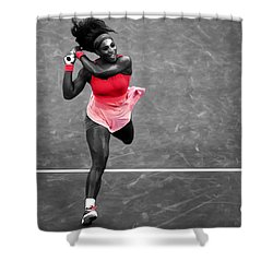 Serena Williams Strong Return Shower Curtain by Brian Reaves