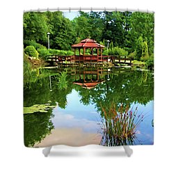 Serene Garden Shower Curtain by Mariola Bitner