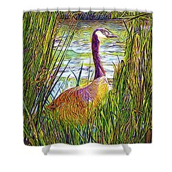 Serene Goose Dreams Shower Curtain by Joel Bruce Wallach