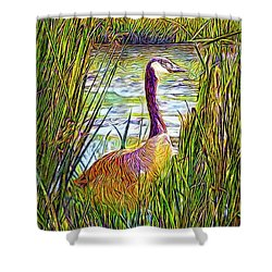Serene Goose Dreams Shower Curtain