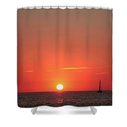 Serene Sailboat Sunset Shower Curtain by Ellen O'Reilly