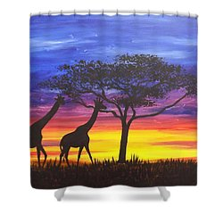 Shower Curtain featuring the painting Serengeti Sunset by Darren Robinson