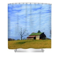 Serenity Barn And Blue Skies Shower Curtain