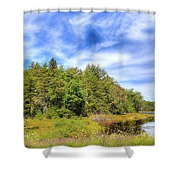 Shower Curtain featuring the photograph Serenity On Bald Mountain Pond by David Patterson