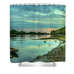 Serenity Over Narew River Shower Curtain