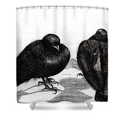 Serious Pigeon Situation Shower Curtain by Nancy Moniz