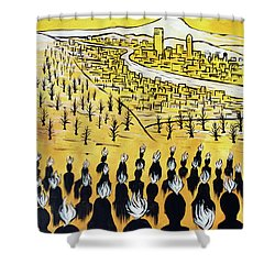 Shower Curtain featuring the painting Set Ablaze by Nathan Rhoads