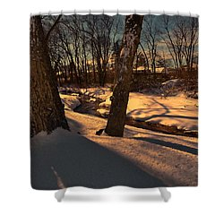 Setting Sun On A Winters Day Shower Curtain by Mikki Cucuzzo