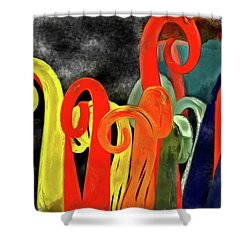 Shower Curtain featuring the mixed media Seuss' Canes by Trish Tritz