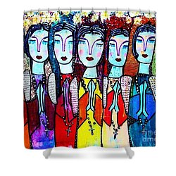 Seven Blue Spanish Angels Shower Curtain