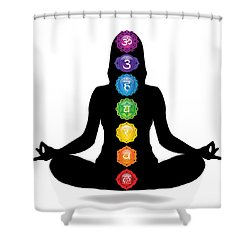 Seven Chakra Illustration With Woman Silhouette Shower Curtain