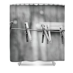 Seven Clothes Pins Shower Curtain by Marius Sipa