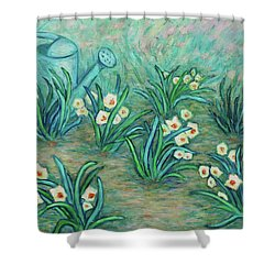 Shower Curtain featuring the painting Seven Daffodils by Xueling Zou