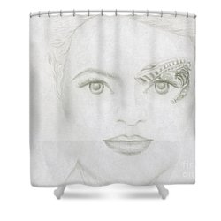 Shower Curtain featuring the drawing Seven by Kim Sy Ok