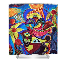 Shower Curtain featuring the painting Night Of The Wolf by Marina Petro